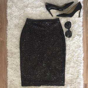 Express High Waisted Sequined Pencil Skirt
